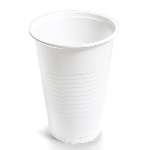 Стакан одноразовый Эконом пластиковый белый 200 мл 100 штук в упаковке