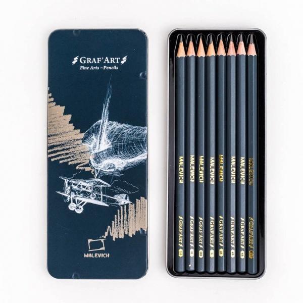 Набор чернографитных карандашей Малевичъ Graf'Art в металлическом пенале 8 шт (8B-2H)