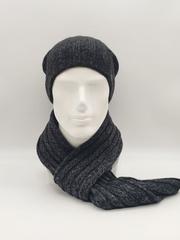 Мужской молодежный комплект шапка бини/ колпак и шарф, серо-синий меланж
