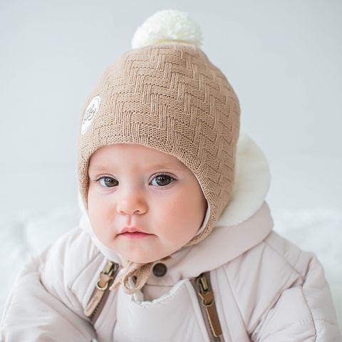 Winter hat with ties and pompon 0+, Beige Melange