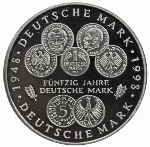 10 марок. 50 лет Немецкой марке (D). Серебро. 1998 г. PROOF. В родной запайке