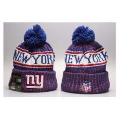 Шерстяная вязаная шапка футбольного клуба New York (Нью Йорк) NFL с помпоном синяя