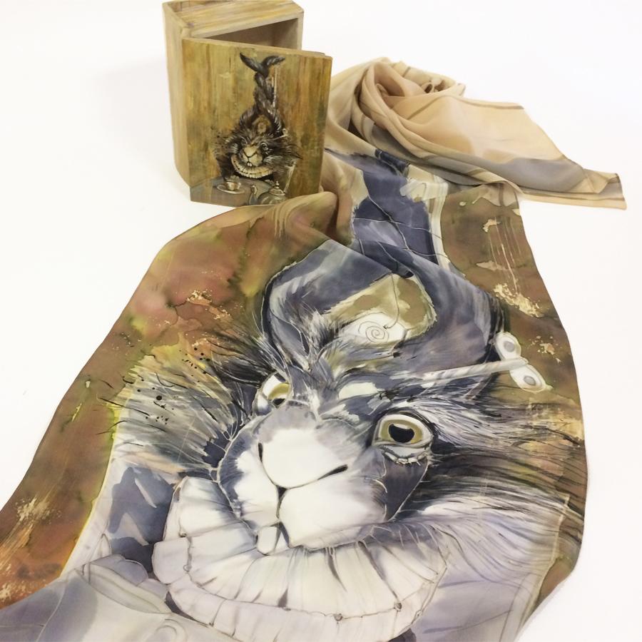 Шелковый шарф батик
