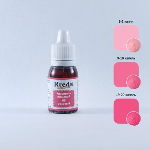 Краситель Kreda, жирораств-ый, розовый, 10мл