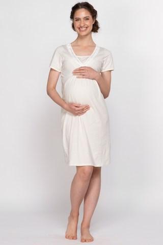 Сорочка для беременных и кормящих 11239 бежевый/белый