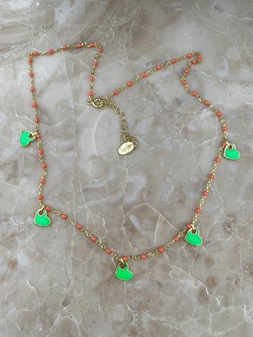 Колье Лавуа с оранжевой и зеленой эмалью