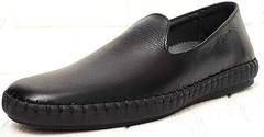 Casual стиль кожаные мокасины слипоны черные мужские Broni M36-01 Black.