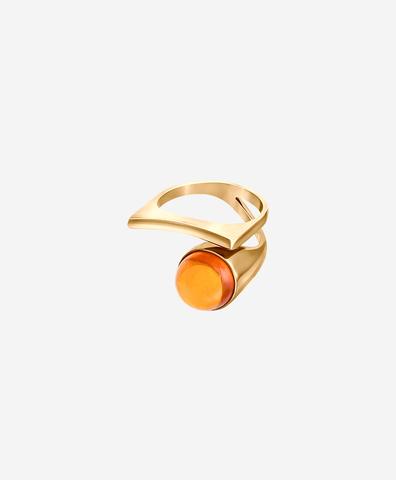 Кольцо Modernism  с коньячным янтарем