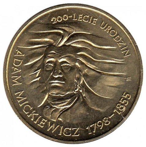 2 злотых 1998 год, Польша. Адам Мицкевич. 200 лет. Личности. UNC