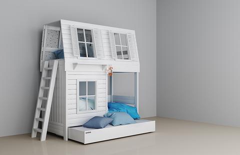 Двухъярусная кроватка для девочки белая