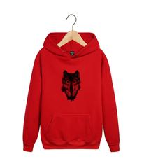 Толстовка красная 009 с капюшоном (худи, кенгуру) и принтом Волк (Wolf)