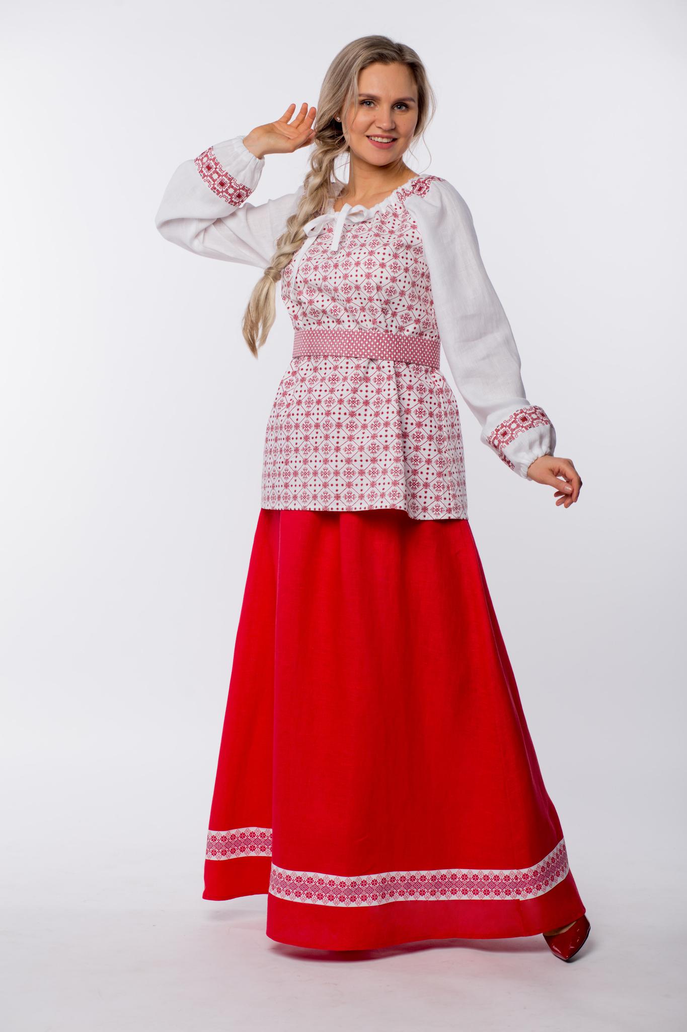 Юбка льняная Ягодка с блузкой навыпуск