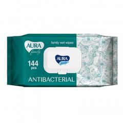 Салфетки влажные AURA FAMILY с антибактериальным эффектом с крышкой 144шт