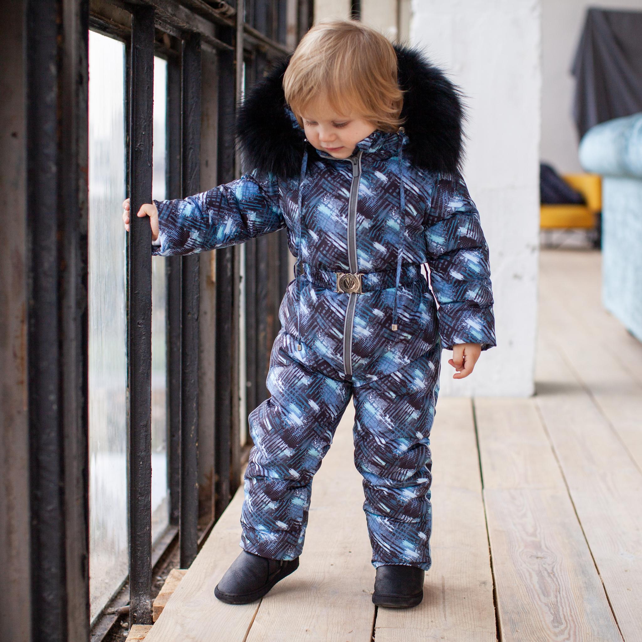 Дитячий зимовий комбінезон з принтом і опушкою з натурального хутра