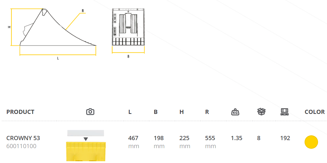 Противооткатный упор 200х470 мм пластиковый (Lokhen, ИТАЛИЯ)
