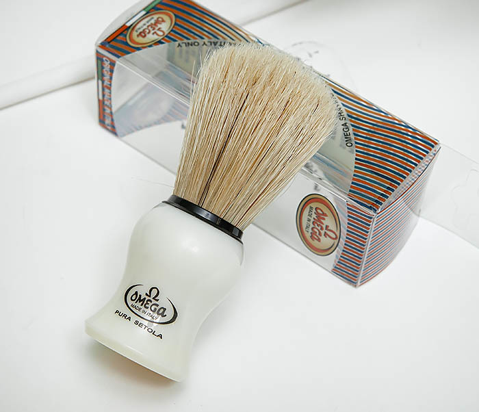 RAZ504 Помазок для бритья «OMEGA» с кистью из щетина кабана фото 03