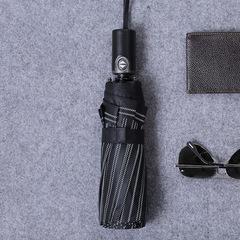 Семейный мужской облегченный премиальный зонт, с защитой от УФ, 10 спиц, кожаная ручка (черный в полоску)