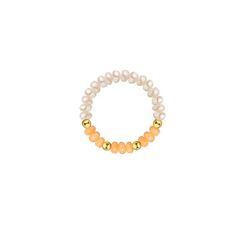Кольцо из жемчуга с кораллом