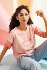 Рожева футболка з бавовни з короткими рукавами