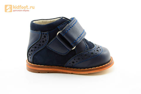 Ботинки для мальчиков Тотто из натуральной кожи на липучке цвет Синий, 09A. Изображение 4 из 14.