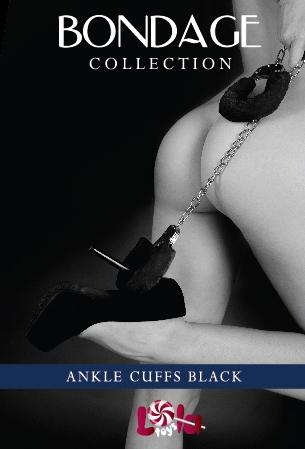 Чёрные меховые оковы на ноги BONDAGE