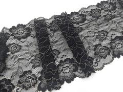 Эластичное кружево, 21 см, черное с бежевой кордовой нитью, (Арт: EK-2523), м