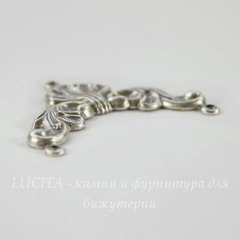 Винтажный декоративный элемент - коннектор (1-2) 34х28 мм (оксид серебра) (светлая)