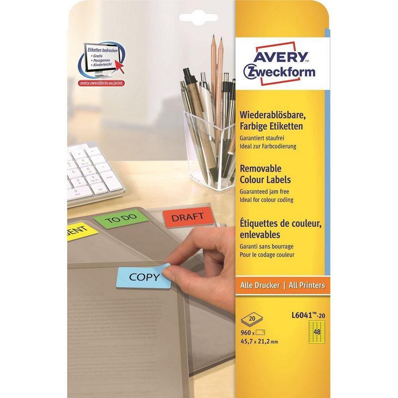 Этикетки самоклеящиеся Avery Zweckform мини желтые 45.7x21.2 мм (48 штук на листе А4, 20 листов, артикул производителя L6041-20)