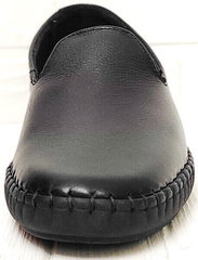 Casual стиль модные слипоны мокасины мужские кожаные Broni M36-01 Black.