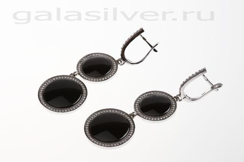 Серьги с керамикой и цирконом из серебра 925