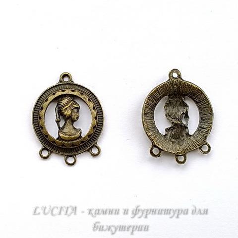 "Коннектор ""Девушка"" (1-3) 32х25 мм (цвет - античная бронза) ()"