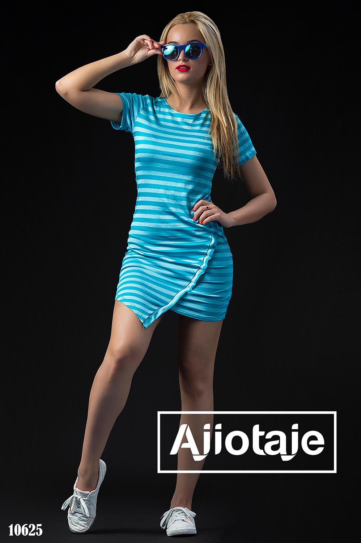 Синее платье в полосочку с коротким рукавом