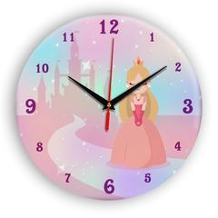 Часы настенные 28 см/ Детские часы Принцесса и замок ЧЗ ИДЕАЛ, плавный бесшумный механизм
