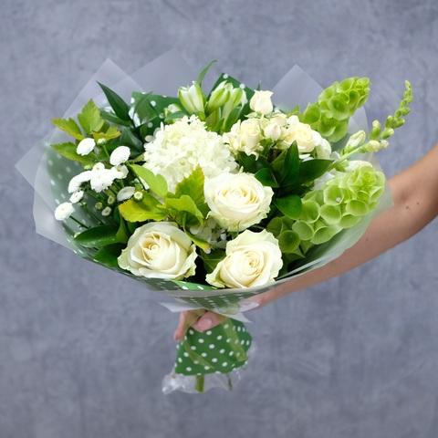 Букет осенний 11 с розами и садовой гортензией