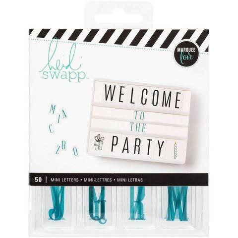 Сменный пластиковый алфавит Mini Alphabet/Teal On White для светильника Lightbox   -   Heidi Swapp
