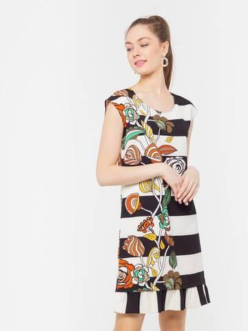 Фото летнее повседневное платье с оригинальным принтом и воланом - Платье З203-766 (1)