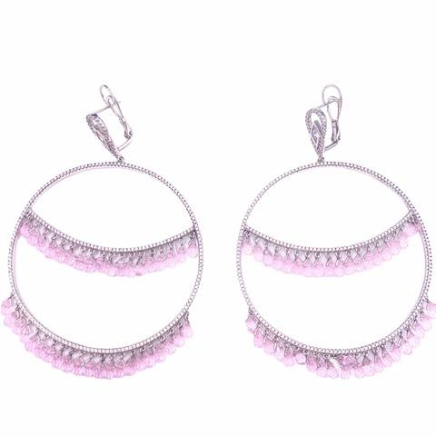 47124 - Серьги-обручи Hoop  из серебра с двойным рядом розовых,каплевидных цирконами бриллиантовой огранки