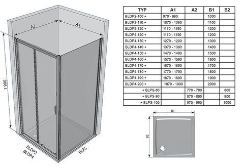 Душевая дверь Ravak Blix BLDP2 - 100 блестящий + транспарент 0PVA0C00Z1 схема