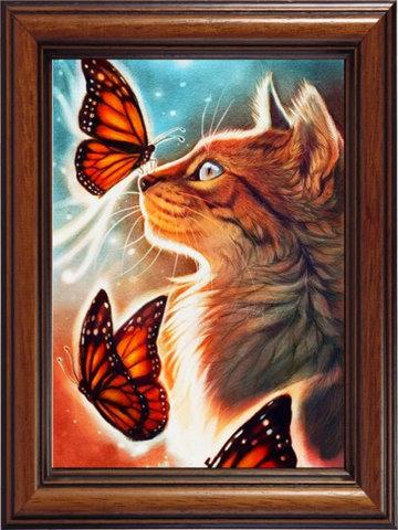 Мозаичная картина Кошка с бабочками 10013