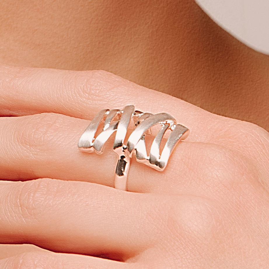 Кольцо прямоугольное сатиновое (серебристый) Vi