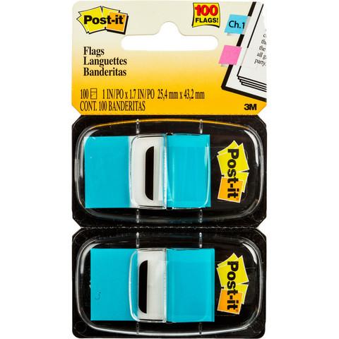 Клейкие закладки Post-it пластиковые голубые 2 диспенсера по 50 листов 25.4x43.2 мм
