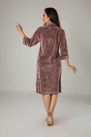 Халат женский  велюровый на молнии 0413 коричневый  NUSA Турция