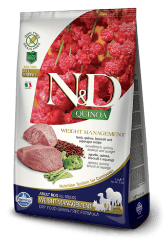 купить Farmina N&D QUINOA Weight Management Lamb сухой беззерновой корм - контроль веса для собак всех пород  Ягненок, киноа, брокколи и спаржа. Полнорационный сухой корм для взрослых собак всех пород