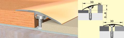 Профиль Русский Профиль Стык с дюбелем разноуровневый 30мм Дуб беленый 1800мм