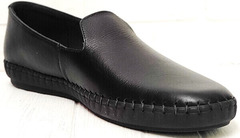 Casual стиль удобные туфли слипоны мужские кожа Broni M36-01 Black.