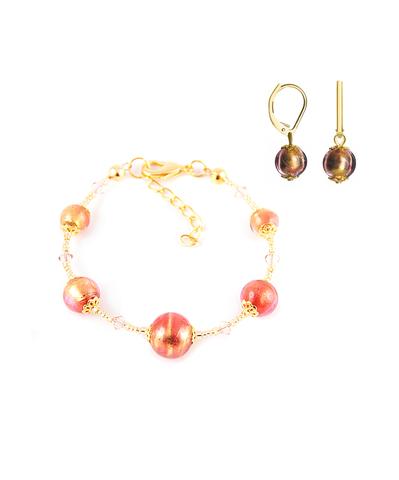 Комплект Примавера золотисто-розовый (серьги Пикколо, браслет)
