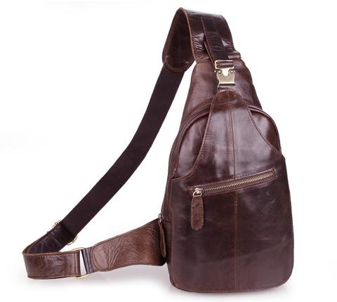 Кожаный однолямочный рюкзак JMD 2467