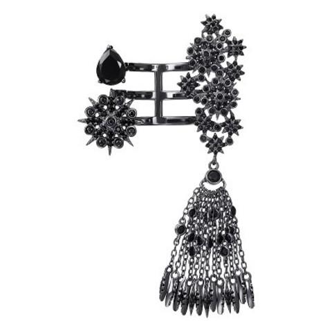 46310- Кольцо  STAR TASSEL  из серебра с подвеской кисточка в черном родии
