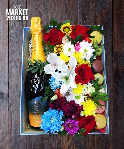 Цветы ,macaron и напиток ( 7 шт.) #14581