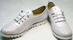 Летние белые туфли на низком ходу женские Mi Lord 2007 White-Pearl.